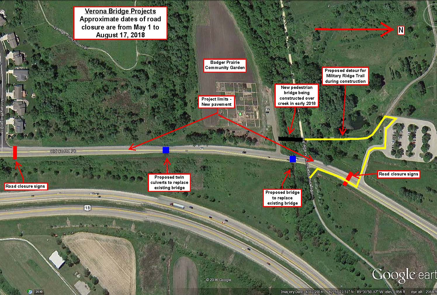Verona bridge project road closure on old PB