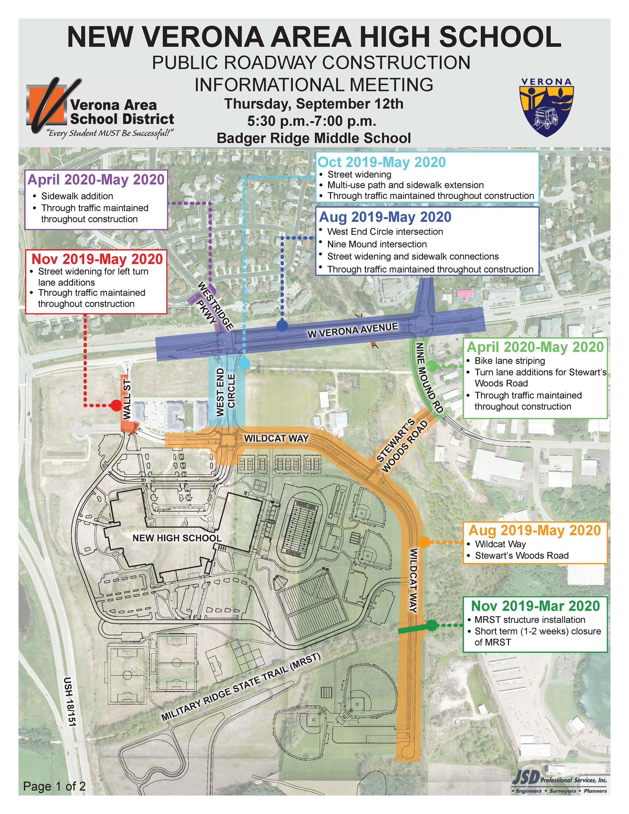 VAHS Public Information Meeting exhibit of planned road construction near new high school.